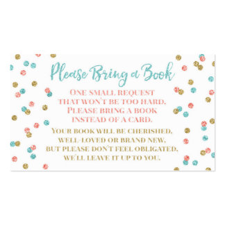 Baby Shower Book Request Teal Coral Gold Confetti Business Card