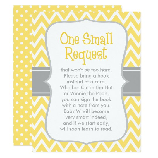 Baby Shower Book Request Yellow And Gray Card Zazzle Com