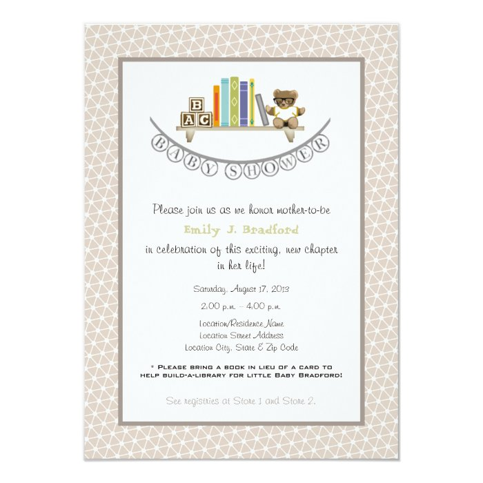 baby shower book themed unisex invitation zazzle