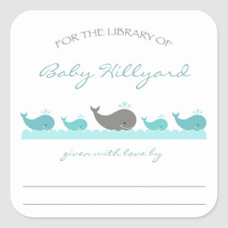 Baby Shower bookplates / turquoise gray whales