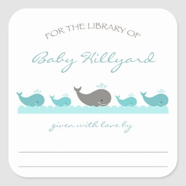 Toddler & Baby themed Baby Shower bookplates / turquoise gray whales