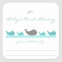 Baby Shower bookplates / turquoise whales