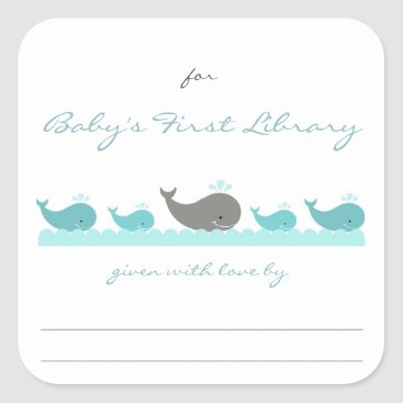 Toddler & Baby themed Baby Shower bookplates / turquoise whales