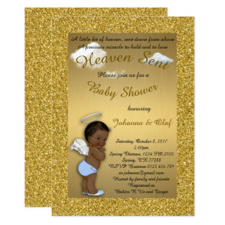 Baby Shower Boy, Afro American,Baby Angel,Gold Card