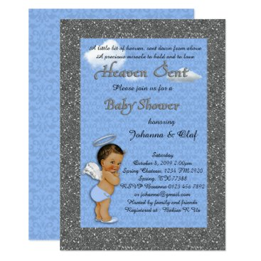 Toddler & Baby themed Baby Shower Boy, Baby Angel,Blue, glitter, silver Card