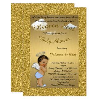Baby Shower Boy, Baby Angel, glitter, Gold, braket Card