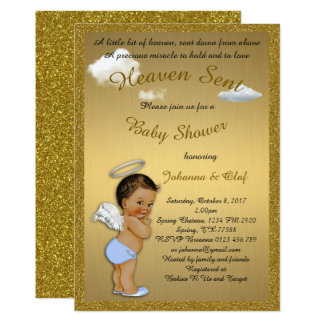 Baby Shower Boy, Baby Angel, glitter, Gold Card