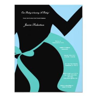"Baby Shower Boy Baby Blue Baby Bump Tummy Writting 4.25"" X 5.5"" Invitation Card"