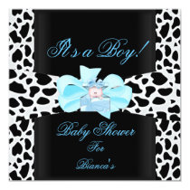 Baby Shower Boy Baby Blue Black White Cow Print Card