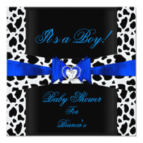 Baby Shower Boy Baby Blue Black White Cow Print Invitation