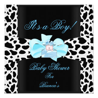 Baby Shower Boy Baby Blue Black White Cow Print Personalized Invites