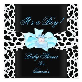 "Baby Shower Boy Baby Blue Black White Cow Print 5.25"" Square Invitation Card"