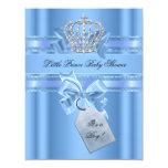 Baby Shower Boy Baby Blue Little Prince Crown Bow Custom Invitation