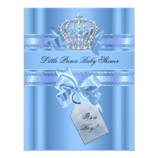 Baby Shower Boy Baby Blue Little Prince Crown Bow 4.25x5.5 Paper Invitation Card