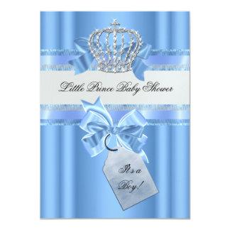 "Baby Shower Boy Baby Blue Little Prince Crown 4.5"" X 6.25"" Invitation Card"