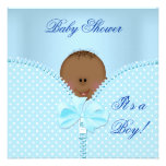 Baby Shower Boy Baby Blue White Polka Dots Personalized Invitations