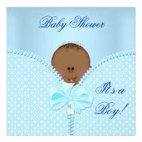Baby Shower Boy Baby Blue White Polka Dots Personalized Invitations