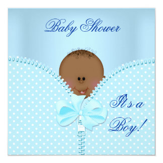Baby Shower Boy Baby Blue White Polka Dots 5.25x5.25 Square Paper Invitation Card