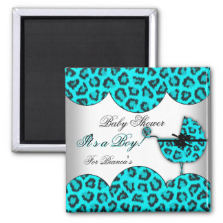 Baby Shower Boy Baby Leopard Blue Pram 2 Inch Square Magnet