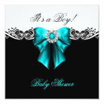 Baby Shower Boy Baby Teal Blue Black White Announcement