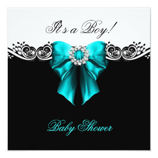 """Baby Shower Boy Baby Teal Blue Black White 5.25"""" Square Invitation Card"""