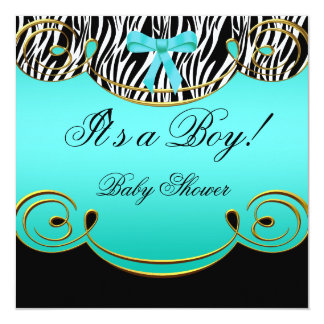 Baby Shower Boy Baby Teal Blue Black Zebra 5.25x5.25 Square Paper Invitation Card