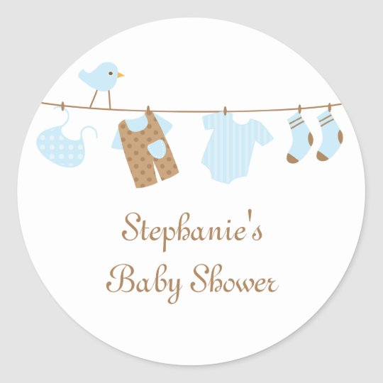 Baby shower boy birds and laundry stickers