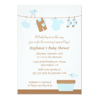 "Baby shower boy birds laundry party invitation 5"" x 7"" invitation card"