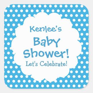 Baby Shower BOY Blue and White Polka Dots V004 Square Sticker