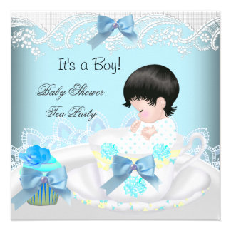 Baby Shower Boy Blue Baby Teacup Cupcake 2 5.25x5.25 Square Paper Invitation Card