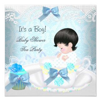 Baby Shower Boy Blue Baby Teacup Cupcake Card