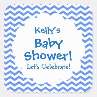 Baby Shower BOY Blue Chevron Pattern V001 Square Sticker