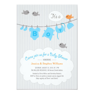 baby shower boy blue clothesline party invite