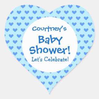 Baby Shower BOY Blue Hearts Pattern V3E Heart Sticker