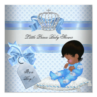 """Baby Shower Boy Blue Little Prince Bunnies 5.25"""" Square Invitation Card"""