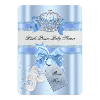 Baby Shower Boy Blue Little Prince Crown 3a Card