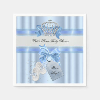 Baby Shower Boy Blue Little Prince Crown 3a Napkin