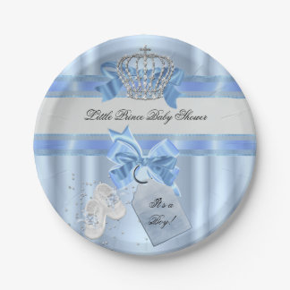 Baby Shower Boy Blue Little Prince Crown 3a Paper Plate