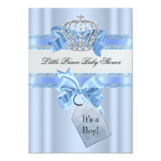 Baby Shower Boy Blue Little Prince Crown 5 x 7 Custom Invitation