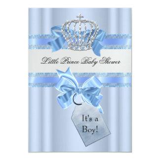 "Baby Shower Boy Blue Little Prince Crown 5 x 7 5"" X 7"" Invitation Card"