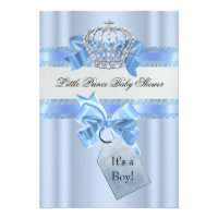 Baby Shower Boy Blue Little Prince Crown Personalized Invitation