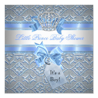 Baby Shower Boy Blue Little Prince Crown 5.25x5.25 Square Paper Invitation Card