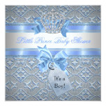 Baby Shower Boy Blue Little Prince Crown Invite