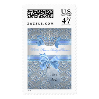 Baby Shower Boy Blue Little Prince Crown Postage