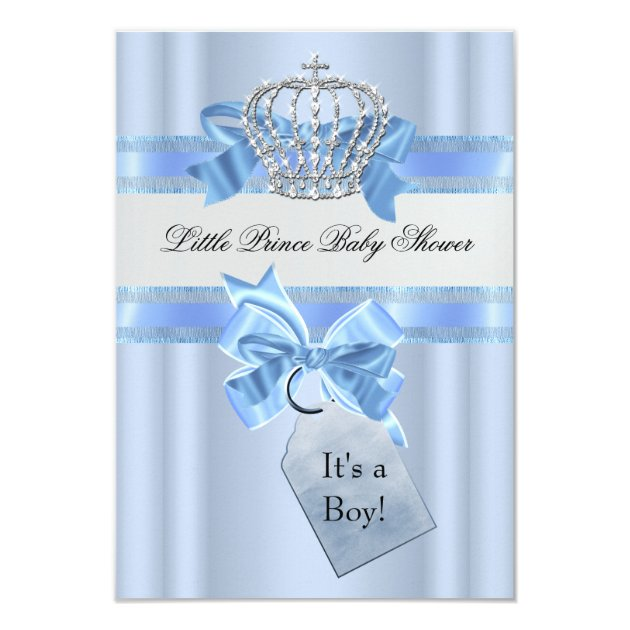 Baby Shower Boy Blue Little Prince Crown SML 3.5x5 Paper Invitation Card