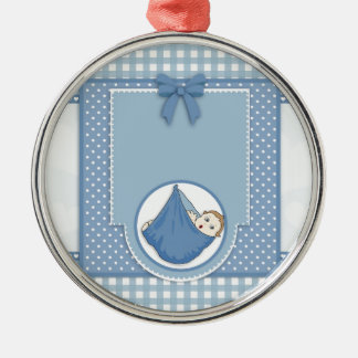 Baby Shower Boy Blue Pattern Party Nursery Art Metal Ornament