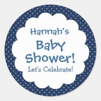 Baby Shower BOY Blue Polka Dot Pattern V2 Classic Round Sticker