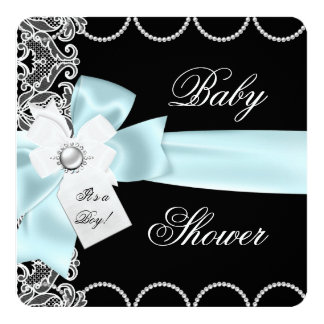 Baby Shower Boy Blue Teal Black White Lace Custom Invite