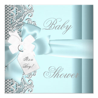 Baby Shower Boy Blue Teal Gray White Lace Card
