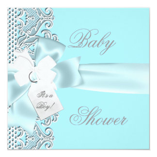 Baby Shower Boy Blue Teal Gray White Lace Invitations